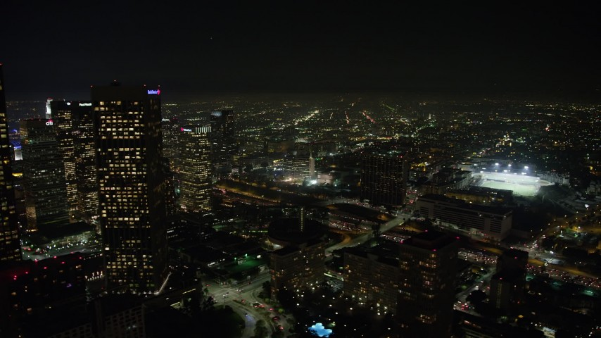 5K stock footage aerial video of Downtown Los Angeles skyscrapers and the 110 freeway, California, night Aerial Stock Footage | AX64_0413