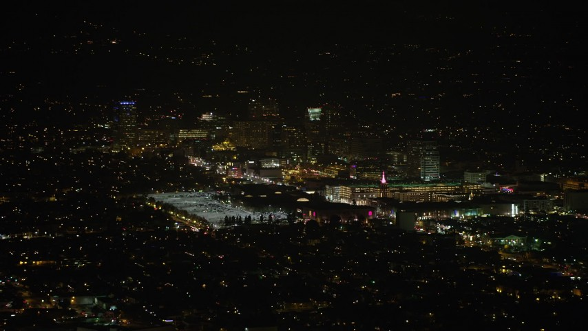 5K stock footage aerial video of the Glendale Galleria shopping mall at night, Glendale, Los Angeles, California Aerial Stock Footage | AX64_0422