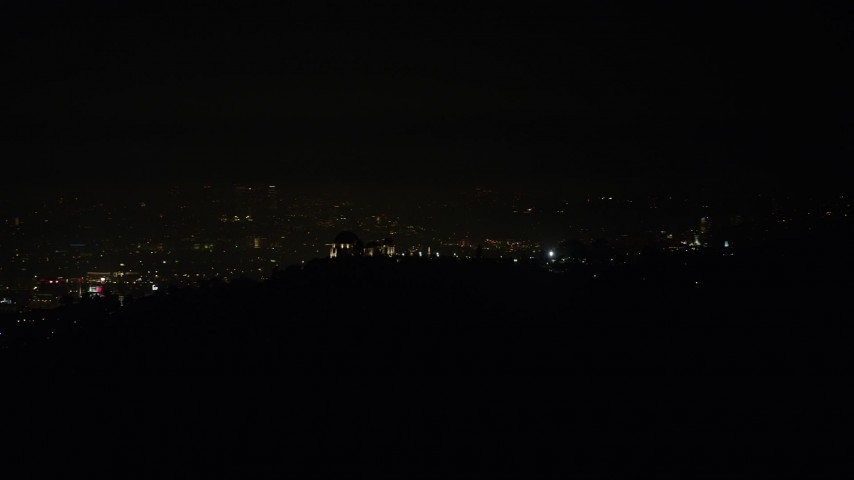 5K stock footage aerial video of the Griffith Observatory at night, Los Angeles, California Aerial Stock Footage | AX64_0424