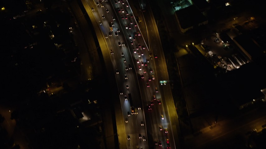 5K stock footage aerial video bird's eye of heavy traffic on Interstate 5, Burbank, California, night Aerial Stock Footage | AX64_0426