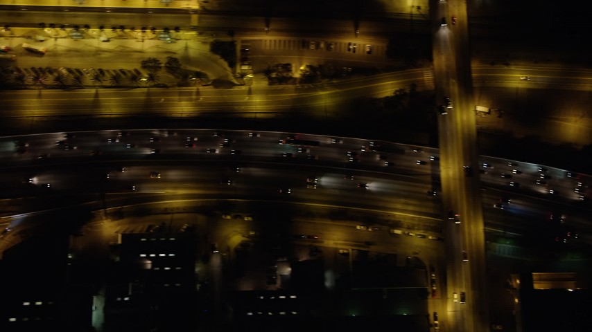 5K stock footage aerial video of Interstate 5 with heavy freeway traffic through Burbank, California, night Aerial Stock Footage | AX64_0430