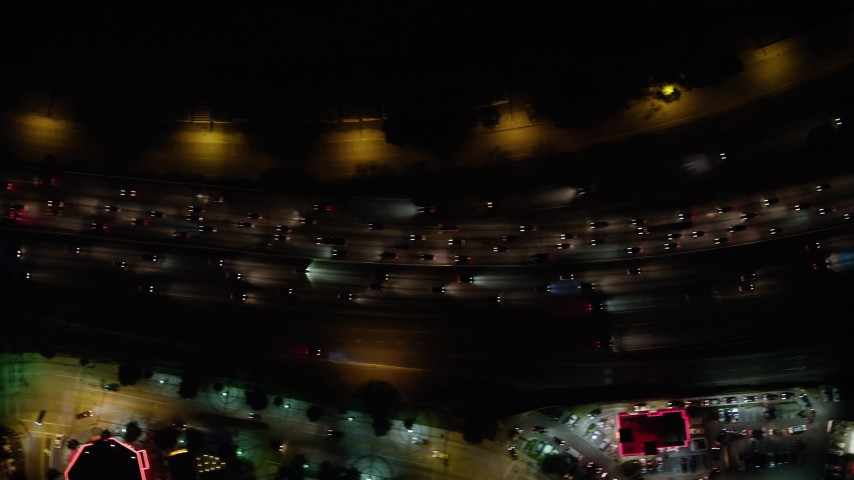 5K stock footage aerial video of a bird's eye view of heavy I-5 traffic at night, Burbank, California Aerial Stock Footage | AX64_0431