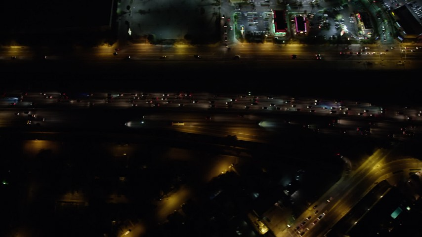 5K stock footage aerial video of a bird's eye of freeway traffic on Interstate 5, Burbank, California, night Aerial Stock Footage | AX64_0432