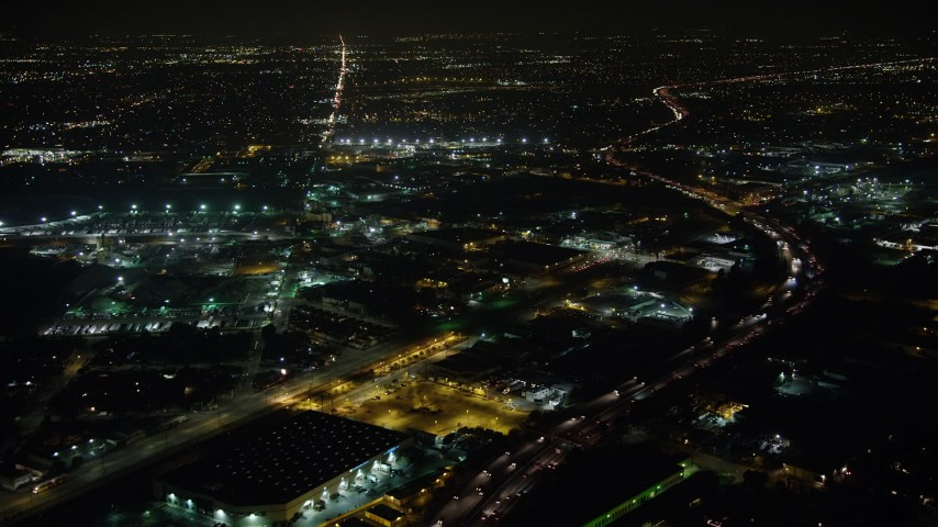 5K stock footage aerial video of Interstate 5 and San Fernando Road, Sun Valley, California, night Aerial Stock Footage | AX64_0438