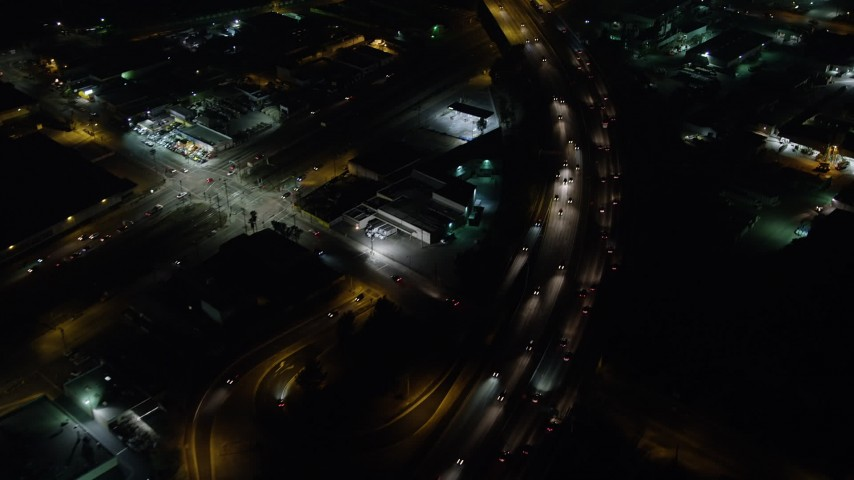 5K stock footage aerial video of bird's eye view of Interstate 5 with light traffic, Sun Valley, California, night Aerial Stock Footage | AX64_0439