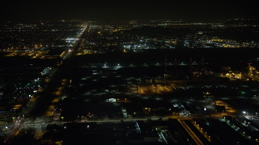 5K stock footage aerial video of the LADWP power plant at night in Sun Valley, California Aerial Stock Footage | AX64_0442