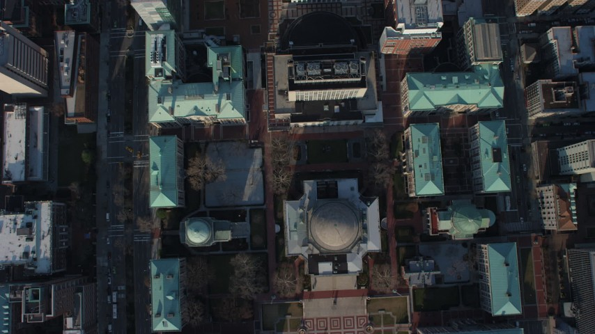 Bird's eye view of the Columbia University campus in New York City, winter Aerial Stock Footage | AX65_0050
