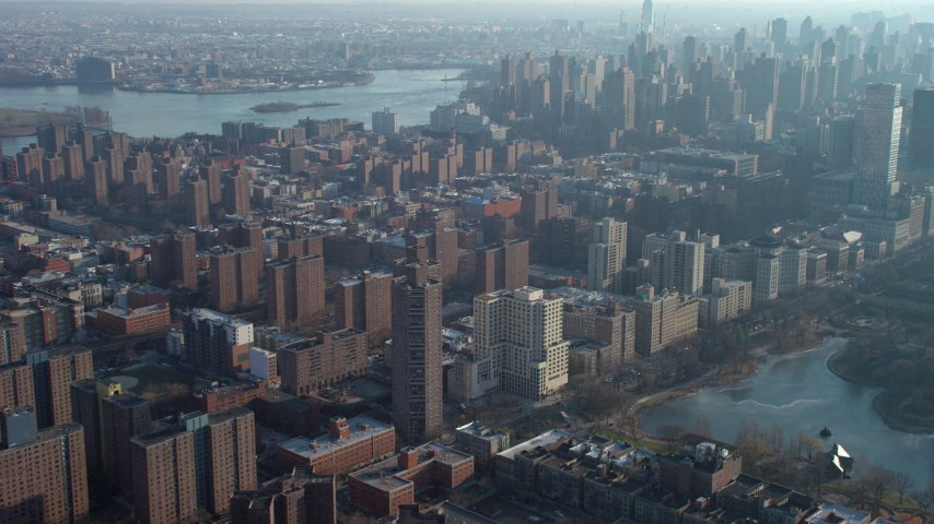 5K stock footage aerial video flyby public housing and apartment buildings on the Upper East Side, New York City, winter Aerial Stock Footage | AX65_0053