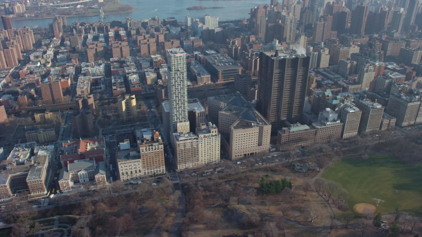 5K stock footage aerial video flyby Mount Sinai Hospital and apartment  buildings, Upper East Side, New York City, winter