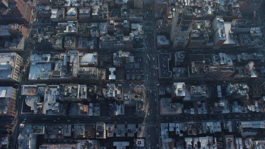 5K stock footage aerial video bird's eye view of following 7th Avenue through Chelsea to Greenwich Avenue, Greenwich Village, New York City, winter Aerial Stock Footage | AX65_0065