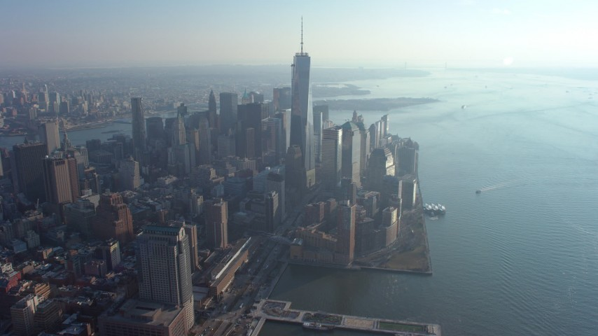 5K stock footage aerial video of Freedom Tower and skyscrapers at the World Trade Center, Lower Manhattan, New York City, winter Aerial Stock Footage | AX65_0066