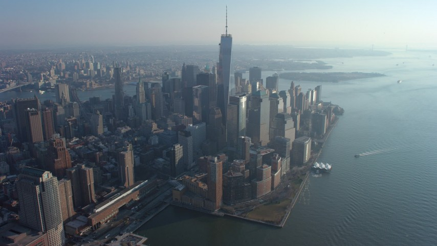 5K stock footage aerial video of Freedom Tower and World Trade Center skyscrapers, Lower Manhattan, New York City, winter Aerial Stock Footage | AX65_0067