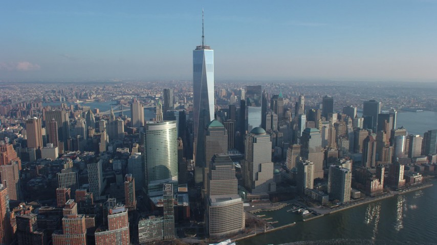 Freedom Tower, World Trade Center skyscrapers in Lower Manhattan, New York City, winter Aerial Stock Footage | AX65_0070