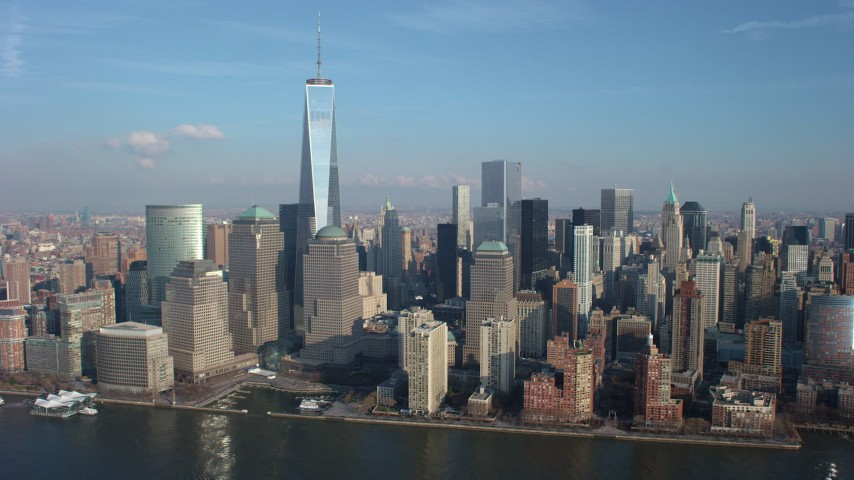 5K stock footage aerial video slow flyby of Freedom Tower and World Trade Center skyscrapers in Lower Manhattan, New York City, winter Aerial Stock Footage | AX65_0073