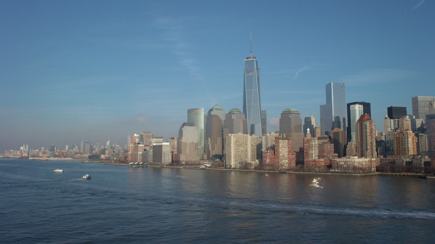 Freedom Tower and the skyline of the World Trade Center in Lower Manhattan, New York City, winter Aerial Stock Footage | AX65_0087