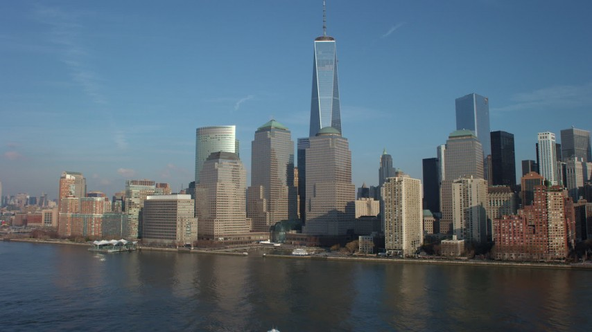 World Trade Center skyline and Freedom Tower in Lower Manhattan, New York City, winter Aerial Stock Footage | AX65_0088