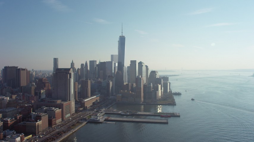 World Trade Center towers in Lower Manhattan, New York City, winter Aerial Stock Footage | AX65_0091