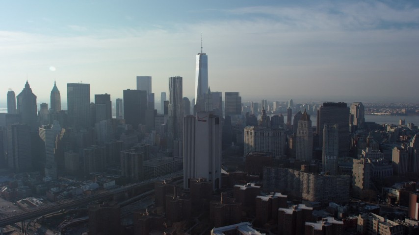 Freedom Tower and Lower Manhattan skyscrapers, New York City, winter Aerial Stock Footage | AX65_0106