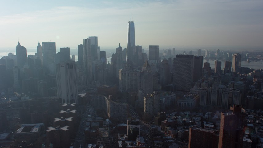 5K stock footage aerial video of Freedom Tower and Lower Manhattan high-rises and skyscrapers, New York City, winter Aerial Stock Footage | AX65_0107