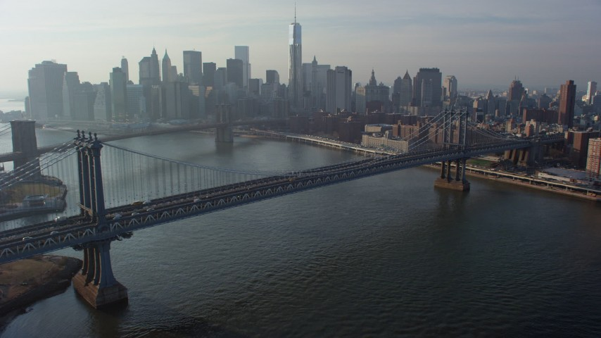 Manhattan Bridge With The Lower Manhattan Skyline And The Brooklyn
