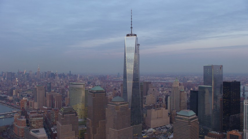 5K stock footage aerial video of orbiting One World Trade Center and neighboring towers in Lower Manhattan, New York City, winter, sunset Aerial Stock Footage | AX65_0206