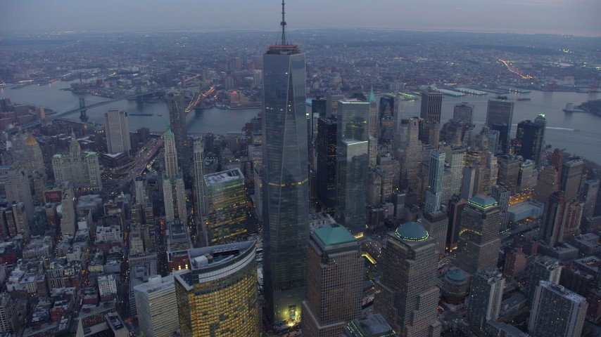 5K stock footage aerial video of an orbit of Freedom Tower and high-rises in Lower Manhattan, New York City, winter, twilight Aerial Stock Footage | AX65_0229