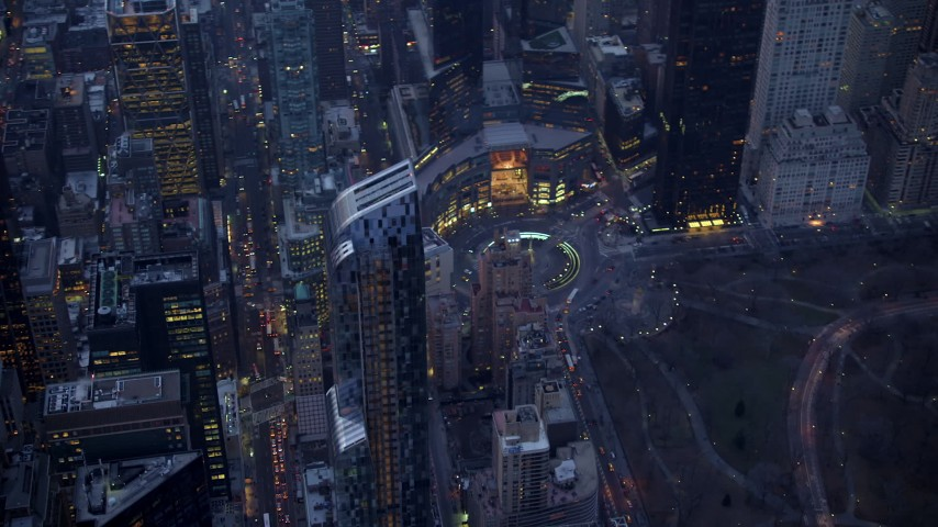 5K stock footage aerial video track One57 skyscraper near Columbus Circle in Midtown Manhattan, New York City, winter, twilight Aerial Stock Footage | AX65_0239