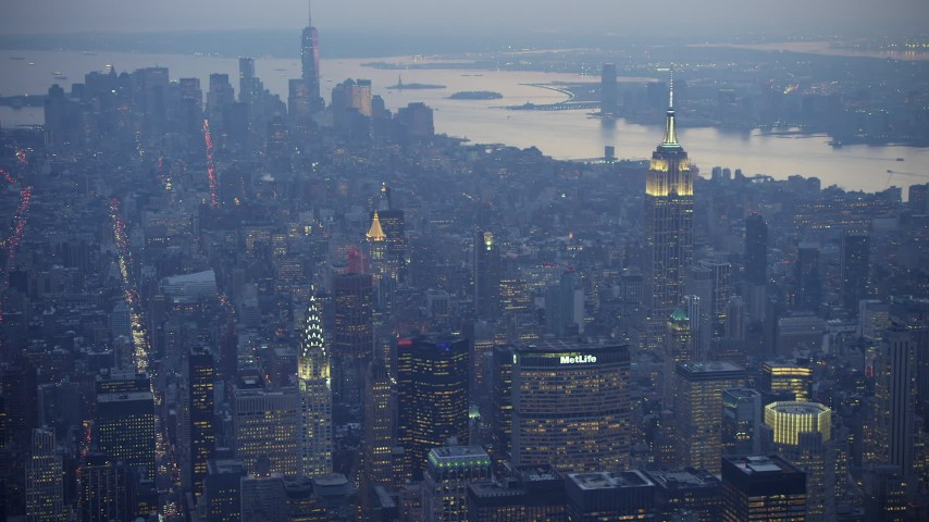 Track the Empire State Building in Midtown Manhattan, New York City, winter, twilight Aerial Stock Footage | AX65_0240