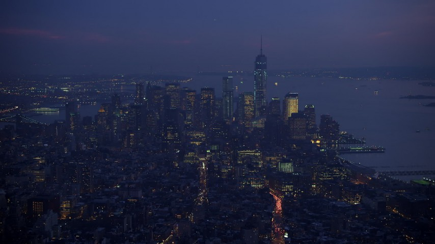 5K stock footage aerial video of Freedom Tower and Lower Manhattan seen from Midtown Manhattan, New York City, winter, twilight Aerial Stock Footage | AX65_0259