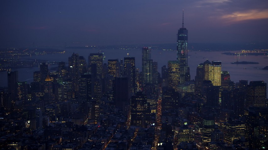 5K stock footage aerial video flyby Lower Manhattan skyscrapers and Freedom Tower, New York City, winter, twilight Aerial Stock Footage | AX65_0261