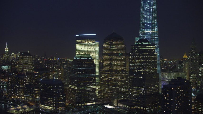 World Trade Center skyscrapers in Lower Manhattan, New York City, winter, night Aerial Stock Footage | AX65_0289