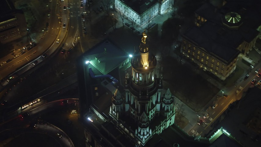 5K stock footage aerial video of tracking top of the Manhattan Municipal Building, Lower Manhattan, NYC, winter, night Aerial Stock Footage | AX65_0293