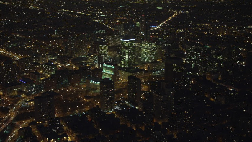5K stock footage aerial video of a group of office buildings in Brooklyn, New York City, winter, night Aerial Stock Footage | AX65_0299