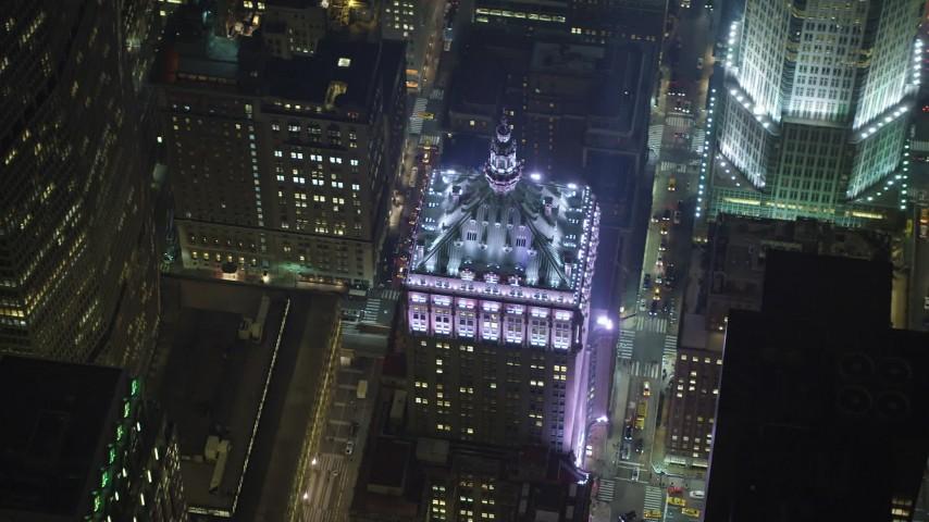 5K stock footage aerial video orbit the Helmsley Building in Midtown Manhattan, New York City, winter, night Aerial Stock Footage | AX65_0341