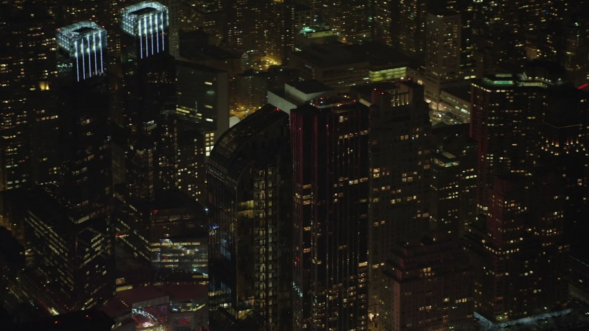 5K stock footage aerial video of tracking the One57 skyscraper in Midtown Manhattan, New York City, winter, night Aerial Stock Footage | AX65_0343
