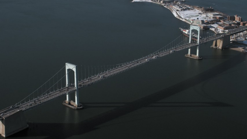 5K stock footage aerial video of an orbit of Throgs Neck Bridge, New York Aerial Stock Footage | AX66_0039