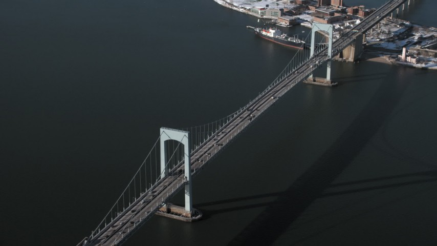 5K stock footage aerial video of an orbit of Throgs Neck Bridge, New York Aerial Stock Footage | AX66_0040