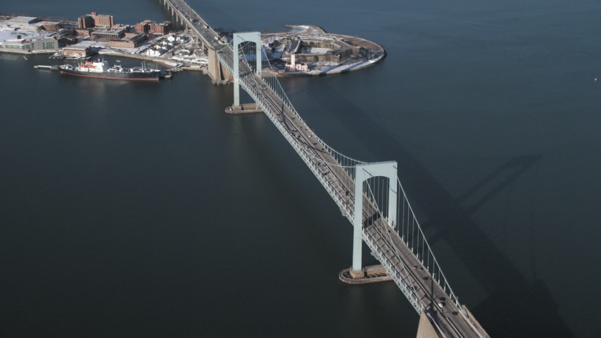 5K stock footage aerial video orbit Throgs Neck Bridge in New York Aerial Stock Footage | AX66_0041