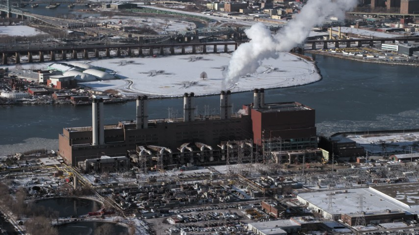 5K stock footage aerial video of a power plant in winter in Queens, New York Aerial Stock Footage | AX66_0052
