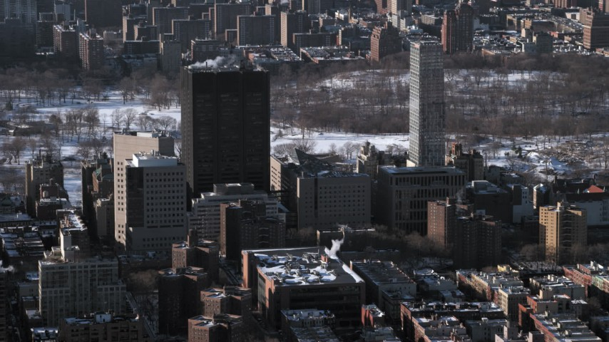 5K stock footage aerial video of Mount Sinai hospital buildings with snow,  Upper East Side  New York City