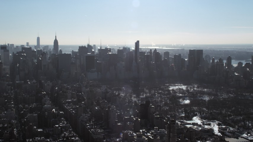 Midtown Manhattan Skyscrapers during winter, New York City Aerial Stock Footage | AX66_0058