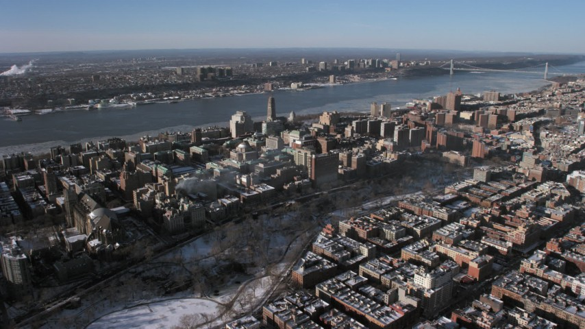5K aerial video approach the campus of Columbia University in New York City Aerial Stock Footage | AX66_0060