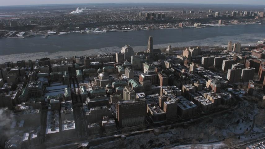 5K stock footage aerial video orbiting Columbia University, New York City Aerial Stock Footage | AX66_0061
