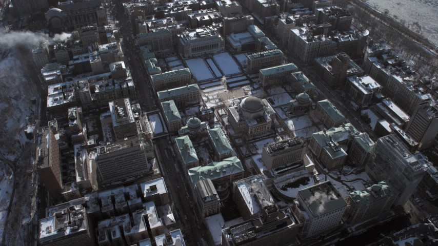 Columbia University with snow New York City Aerial Stock Footage | AX66_0063