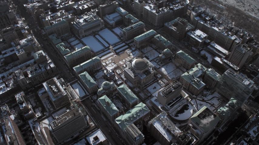 5K stock footage aerial video of Columbia University with snow, New York City Aerial Stock Footage | AX66_0063