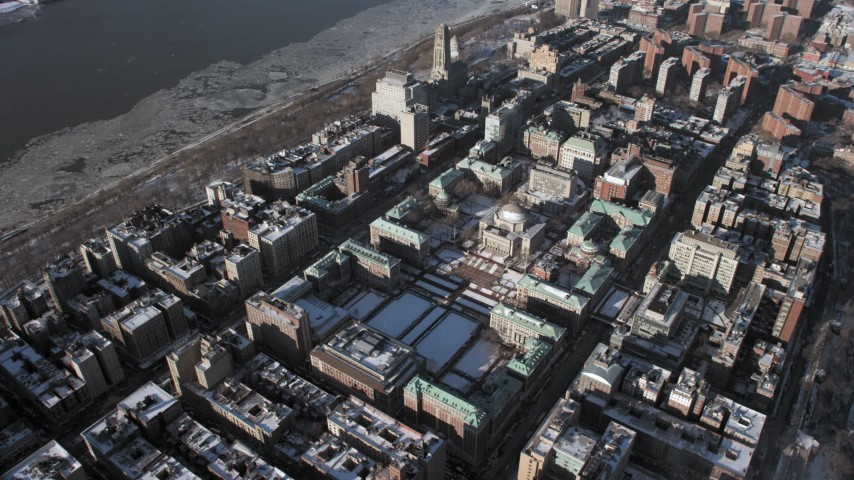 5K aerial video of circling Columbia University with snow, New York City Aerial Stock Footage | AX66_0065