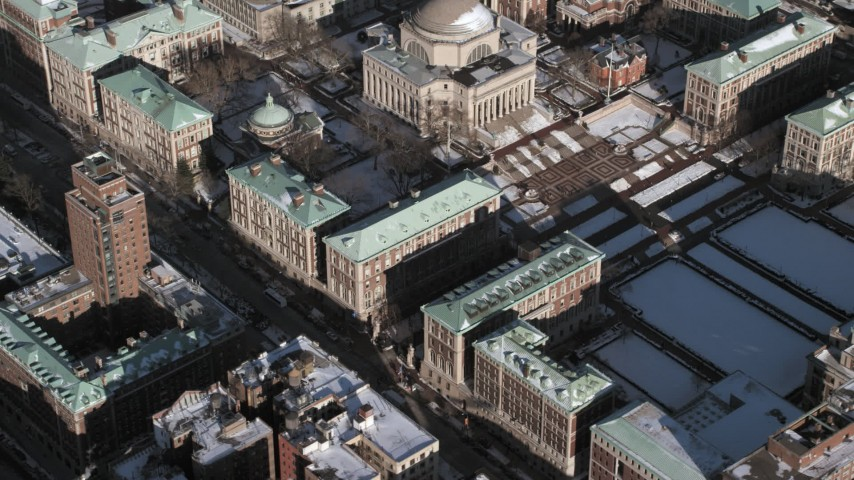 Columbia University Campus with snow, New York City Aerial Stock Footage | AX66_0066