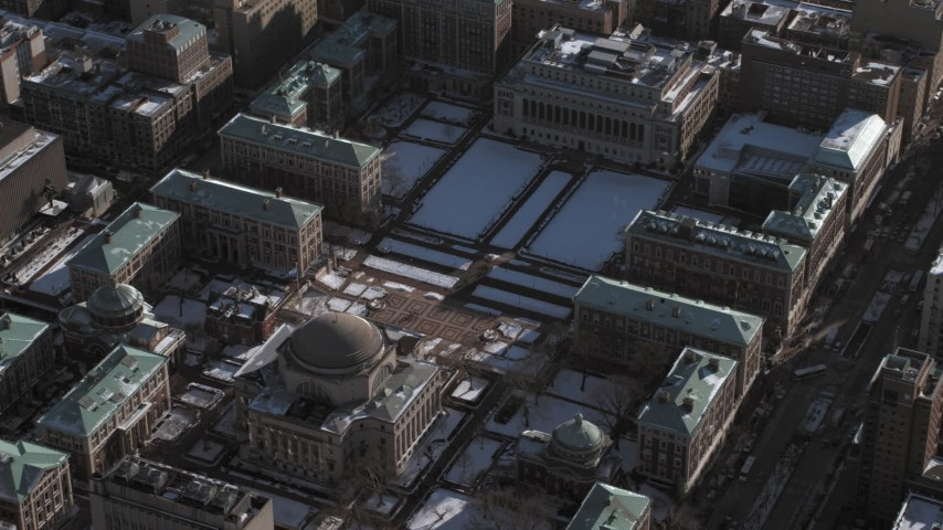 Library on Columbia University Campus with snow, New York City Aerial Stock Footage | AX66_0068