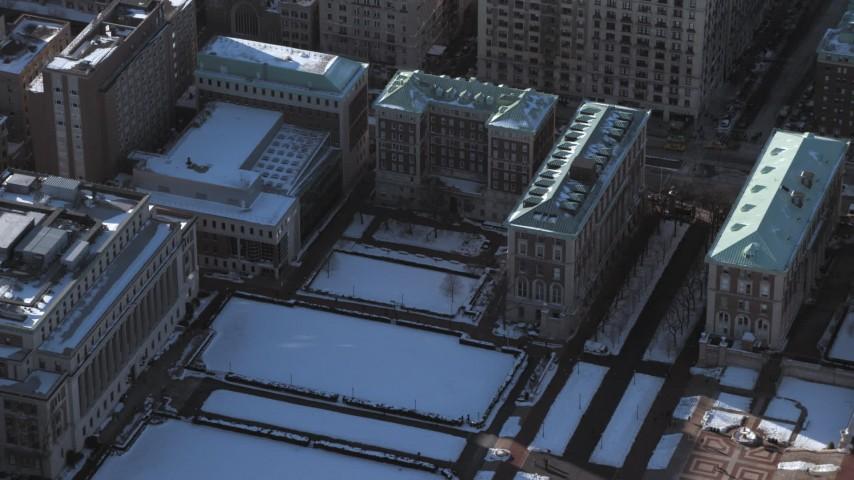 Columbia University Graduate School of Journalism with snow, New York City Aerial Stock Footage | AX66_0070