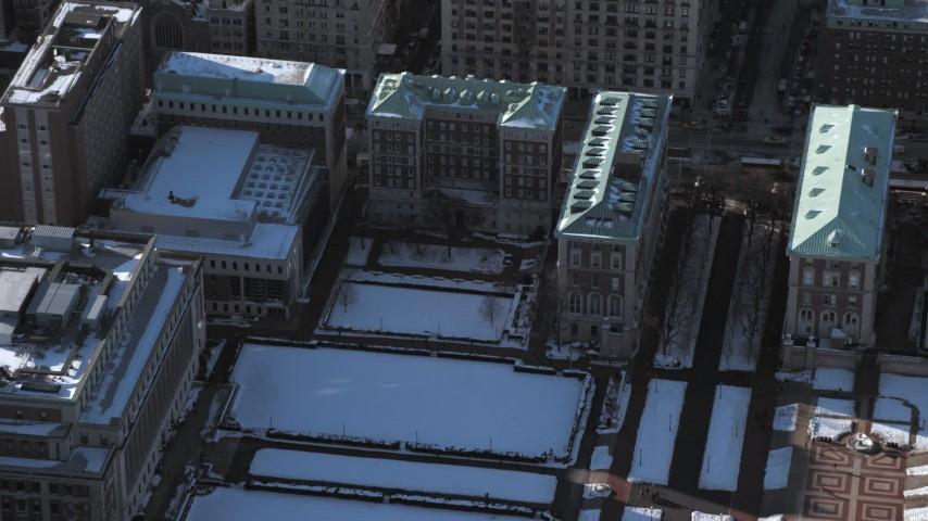 5K stock footage aerial video of Columbia University Graduate School of Journalism with snow, New York City Aerial Stock Footage | AX66_0070
